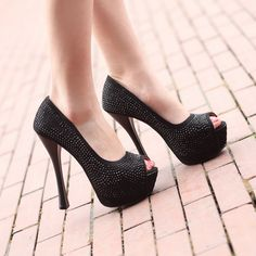 1a9de91cb46 ... Peep Toe Stiletto Heels Prom Shoes With Paillette on sale at Tidestore  with trendy design and good price. Come and find more fashion Prom Shoes  here.