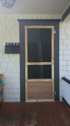 DIY Screen door. I would want two panel on the bottom, instead of one, to put the dog door in.