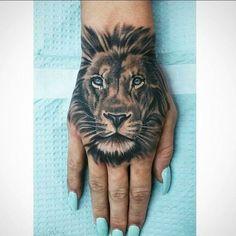 lion hand tattoo #tattoo#lion#handtattoo#blackandwhite