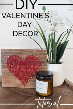 Learn how to make this simple string art heart that's perfect for Valentine's Day decorations for your home. This simple Valentine's Day craft is also a great gift for him or her! #valentinesday #valentines #homedecor #diytutorial #diycraft #stringart #easydiy