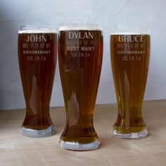 Ask your groomsmen or best man for their presence in your wedding with this Personalized Beer Pilsner Glass. The perfect groomsmen gift or for beer lovers! Best Groomsmen Gifts, Be My Groomsman, Groomsman Gifts, Gifts For Beer Lovers, Beer Gifts, Wedding Attendant Gifts, Engraved Beer Glass, Gifts For Wedding Party, Wedding Ideas
