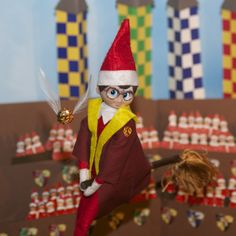 "Our Elf on the Shelf is serving up some wizarding realness today: ""Expelliarmus!"""