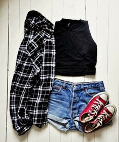 Black Check Shirt With High Waisted Short With Sneakers