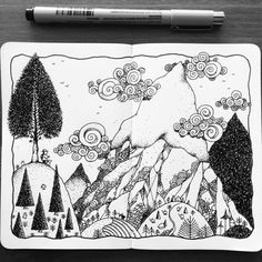 Our Friday Hike Our Friday Hike… From my Simple Life Series, this pen and ink … Sketchbook Drawings, Ink Pen Drawings, Sketches, Sketchbook Ideas, Realistic Drawings, Doodle Drawings, Mountain Drawing, Mountain Art, Art Journal Inspiration