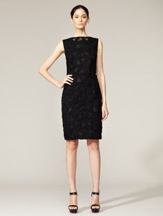 I am obsessed with this dress!  Wool Cutout Tulle Shift Dress by Akris on Gilt