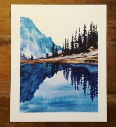 Olympic National Park, mountain lake, Lake of Angels, lake reflection . - Olympic National Park Mountain Lake Lake of the Angels Lake Reflection Pacific Northwest Cascad Art Watercolor, Watercolor Landscape Paintings, Landscape Prints, Landscape Art, Simple Watercolor, Watercolor Animals, Watercolor Background, Watercolor Flowers, Watercolor Illustration