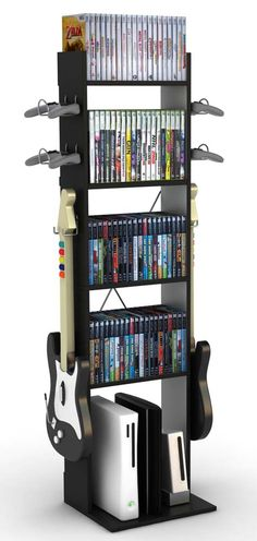 mount holders on sides of cheap shelves (board game shelves) for video game guitars/accessories
