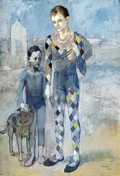 Pablo Picasso - Two acrobats with a dog, 1905. #blueandwhite
