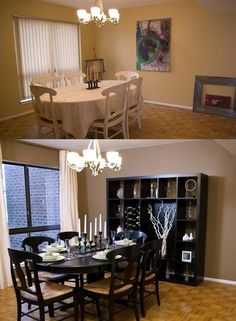 A little paint, change the drapes, add a bookshelf and wow! Sabrina Soto- Before and after