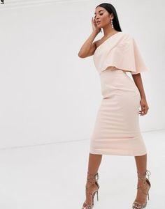Shop Pretty Lavish one shoulder midi dress in pink at ASOS. Jeans Dress, Jacket Dress, One Shoulder, Cold Shoulder Dress, Skirt Leggings, Casual Dresses, Formal Dresses, Asos Dress, Fitted Skirt