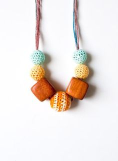 Wooden and crochet necklace by Simplyacircle from Greece