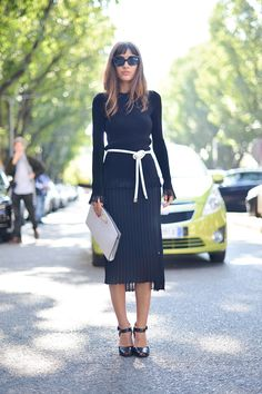 White Vogue Fashion Trend, navy modest outfit. Skirt and long sleeve blouse.