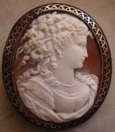 """Goddess Flora"" Sardonyx Shell Cameo in 9k Gold Frame, Italy, c. 1850-1860 Frame is English"