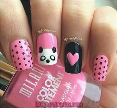 This time I'll be doing a tutorial on how to do panda nail art. Cute & Easy Panda Nail Art Tutorial You will need these polishes. Animal Nail Designs, Girls Nail Designs, Animal Nail Art, Simple Nail Designs, Nail Art Designs, Panda Nail Art, Kawaii Nail Art, Cute Nail Art, Easy Nail Art