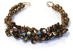 Helga Wagner Gold Coin Fresh Water Pearls, Tiger Eye, faceted gold beads and Plain  Turquoise roundels with tiffany clasp.  N502-60
