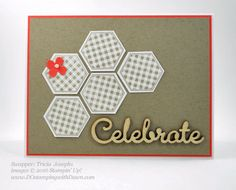handmade celebration card by Tricia Josephs ... kraft with a thin mat and tiny flower in orange .. like the punched hexagon pattern and sentiment placement Stampin' Up!