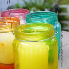 Dyed glass luminaries from baby jars, mason jars or any jar. Keep lid- they're helpful in process. Depending on jar parts glue to 1 part water & drops food coloring. Continually line glass w/ mixture by turning jar. Bottles And Jars, Glass Jars, Candle Jars, Mason Jars, Candle Holders, Canning Jars, Glass Candle, Baby Jars, Baby Food Jars