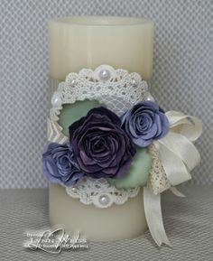 These Purple Rose Candle Wraps would be beautiful for a wedding!