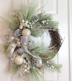 """bearcreekcreations on Instagram: """"This is sold but you can order one similar #wreath #farmhousedecorating #girlbosses #diyhomedecor #farmhousewreath #doorsofinstagram #diy…"""" Rustic Christmas, Christmas Home, Christmas Crafts, Christmas Ideas, Christmas Decorations For The Home, Holiday Decor, Holiday Wreaths, White Christmas Wreaths, Wreath Storage"""