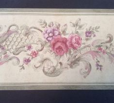 "Floral Flower Wallpaper Border 8"" X 5 Yards Pink Purple Gray Patina 1930s Patina #SAMaxwellCompany"