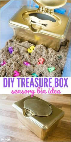 DIY Treasure Chest & Kinetic Sand Sensory Bin Ideas, DIY and Crafts, DIY Treasure Chest for Kids - Make this treasure box for a fun sensory bin with treasure hunt ideas! Learn how to make this simple craft project! Toddler Fun, Toddler Preschool, Toddler Crafts, Diy Crafts For Kids, Toddler Activities, Preschool Activities, Fun Crafts, Indoor Activities, Summer Crafts