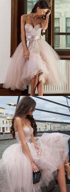 Tea Length Sweetheart Tulle Bridesmaid Dress