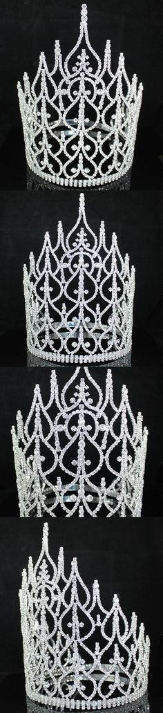 Hair and Head Jewelry 110620: Ab7001 Huge Beauty Queen Crown Tiara Clear Austrian Rhinestone Crystal Pageant BUY IT NOW ONLY: $109.99