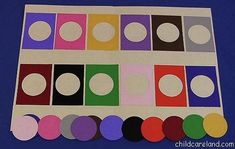 Color Matching Board for visual discrimination and color recognition.do it with my big circle scallop punch in better cokors Preschool Colors, Preschool Learning, Classroom Activities, Preschool Activities, Teaching, Toddler Learning, Early Learning, Toddler Activities, File Folder Activities