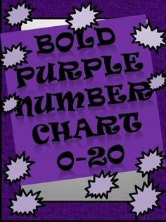 Bold Purple Number Chart 0-20 with corresponding tally marks and dots.
