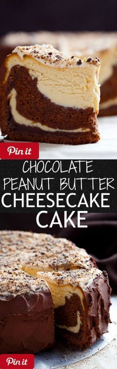 Creamy peanut butter cheesecake bakes on top of a fudgy chocolate cake ...