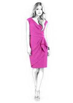 Dress With Decorative Wrap - Sewing Pattern #4294. Made-to-measure sewing pattern from Lekala with free online download.