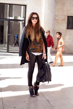 modern camp print and leather accents with ankle booties