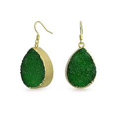 Bling Jewelry Gold Plated Dark Green Druzy Agate Teardrop Dangle Earrings >>> For more information, visit image link. (This is an affiliate link) #FashionEarrings