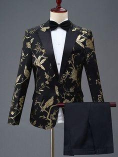 Floral Animal Print Slim Fit Wedding Dinner Suit One Button Blazer Men's Dress Suit Prom Suits For Men, Mens Casual Suits, Dress Suits For Men, Suits For Women, Mens Suits, Men Dress, Groom Suits, Groom Attire, Floral Blazer Outfit