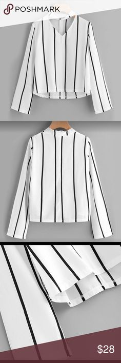 "Just In Black and White Choker Cut Out Top This Top is so cute Striped Blouse Crop Top Long Sleeve Cut Out V Neck With choker small shoulder 14"" Bust 37"" Length 20"" Sleeve 23"".    med Shoulder 15"" Bust 39"" Length 21"" Length 21"" Sleeve 24"" Price Firm unless bundled Chic N Unique Tops Blouses"