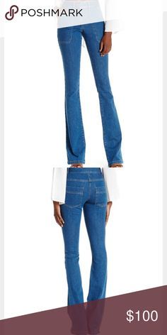 """Veronica Beard Patch Pocket Skinny Flare Jeans 70's denim wash. Front side angled zipper pockets. High waisted, approx 9.5"""" rise. Back patch pockets. Flared bottoms. Veronica Beard Jeans Flare & Wide Leg"""