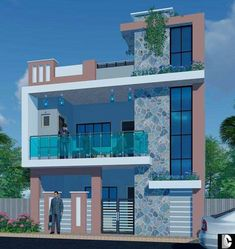 House Outer Design, House Outside Design, House Front Design, Narrow House Designs, Modern Exterior House Designs, Building Elevation, House Elevation, Front Elevation Designs, 2 Storey House Design