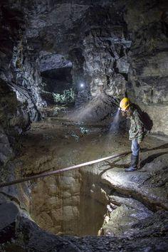 Looking down a mineshaft inside an abandoned mine Fife Scotland