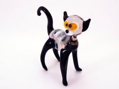 Glass Cat Miniature Cat Figurines Cats Lover Gift Cat by flameingo