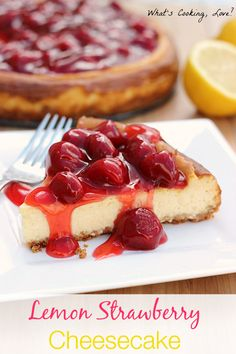Lemon Strawberry Cheesecake.  A delicious lemon cheesecake with a strawberry topping.  The lemon and strawberry flavors go together well to make a fantastic dessert. . #dessert #cheesecake #lemon