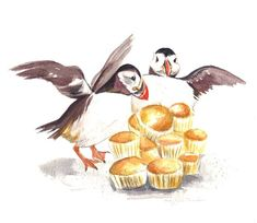 Puffins with muffins (because penguins don't rhyme with baked goods!)