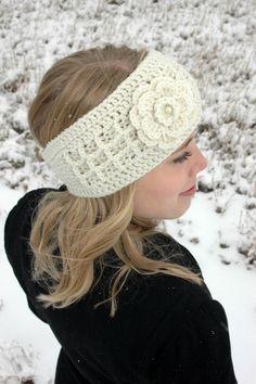 "Cream ""Anna"" Crochet Headband Headwrap."