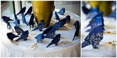 I just love these adorable origami birds! They make sweet little escort cards for a wedding, and the colors are stunning!