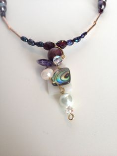 Garnet and Pearls Necklace,  Rose Gold OOAK Wired Necklace, Abalone Pendant Necklace, Grey and white Stones Necklace
