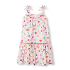 Girls Sleeveless Watercolor Dot Print Dress - White - The Children's Place