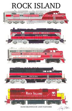 5 hand draw Rock Island drawings by Andy Fletcher Rock Island Railroad, Train Drawing, Train Companies, Train Posters, Train Pictures, Electric Train, Old Trains, Train Engines, Model Train Layouts
