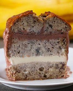 Banana Bread Ice Cream Cake Recipe by Tasty Köstliche Desserts, Frozen Desserts, Food Cakes, Cupcake Cakes, Cake Recipes, Dessert Recipes, Banana Recipes, Banana Ice Cream, Cake Servings
