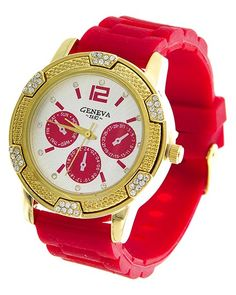 Gold Tone / Red Rubber / Clear Rhinestone / Stainless Steel Back / Buckle Closure Watch