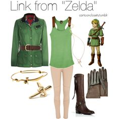 """Link from ""The Legend of Zelda"""" by bforbel on Polyvore    There is a breakdown of each item, too."
