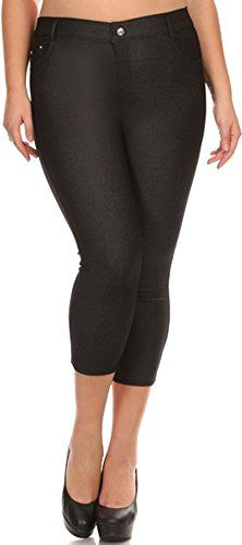 d3bc6e75cac Women s Solid Plus Size Pull On Capri Jeggings with Rhinestone